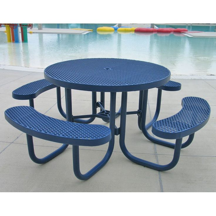 Outdoor Premier Polysteel Champion 78 in. Round Commercial Picnic Table with Attached Seats