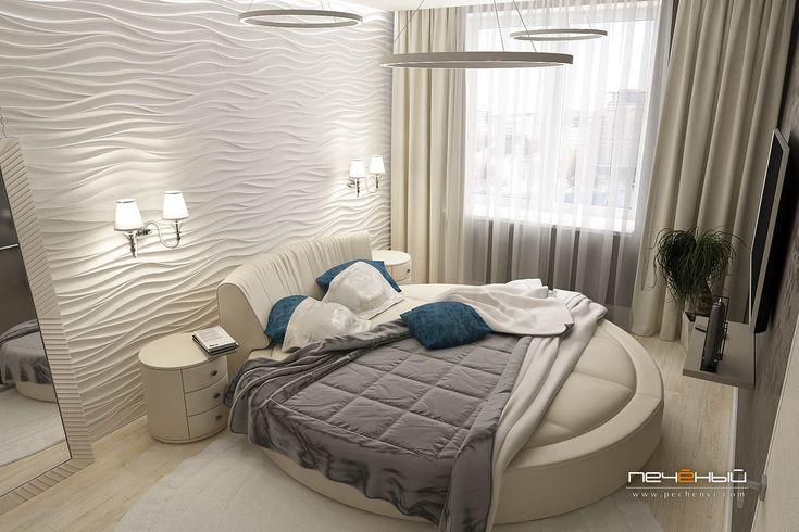 """Дизайн интерьера спальни в современном стиле в двухкомнатной квартире. Бежевый, белый, серый. Студия дизайна """"Печёный""""."""