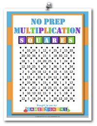 """Want a fun,no-prep multiplication facts game to use in your math centers tomorrow? Read about how we've """"mathified"""" the squares game and get your FREE printable copy atGames4Gains.com."""