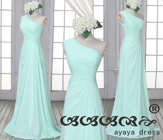 Mint green Bridesmaid Dress,one shoulder bridesmaid dresses,long prom dress, Mint green long  Bridesmaid dresses, by ayayadress on Etsy