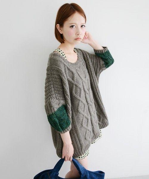 KBF colorful sleeve cable knit of KBF (Keibiefu) (Sweaters) | Gray