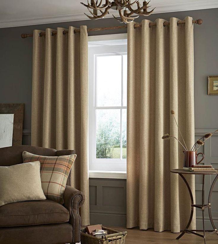 Catherine Lansfield Brushed Heritage Plain Eyelet Curtains