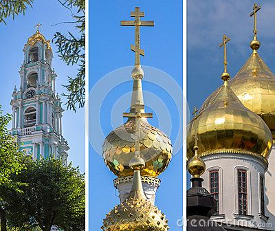 A striped collage of different golden cupola of various orthodox churches
