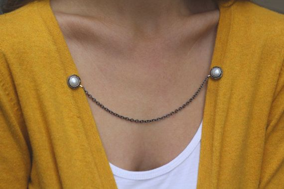 Sweater Guard Cardigan Clip Collar Clip Vintage Inspired Retro Dainty Silver Jewelry - Elizabeth