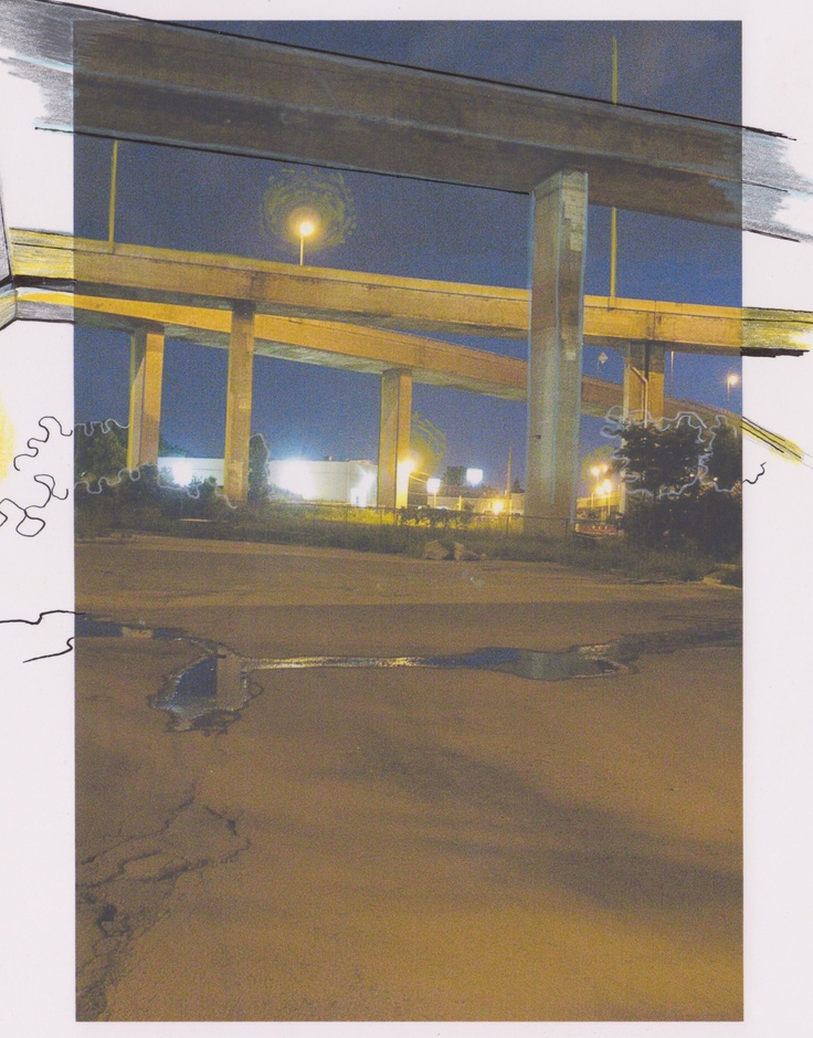 Alexandre Désilets. Collage. Photography+ Illustration: Ariane Charbonneau #album #artwork #music #montreal #highway #night