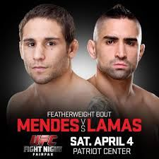 Are you looking for a Mendes vs Lamas live UFC Fight online streaming 4th April 2015.You can enjoy watching a live online stream of UFC Fight Mendes vs Lamas right here. this Match held in Patriot Center, Fairfax.. The is no need to look anywhere else. The links for the event appear above.Here we make it potential for you to watch Live UFC Broadcasts from all over the world IN HDQ