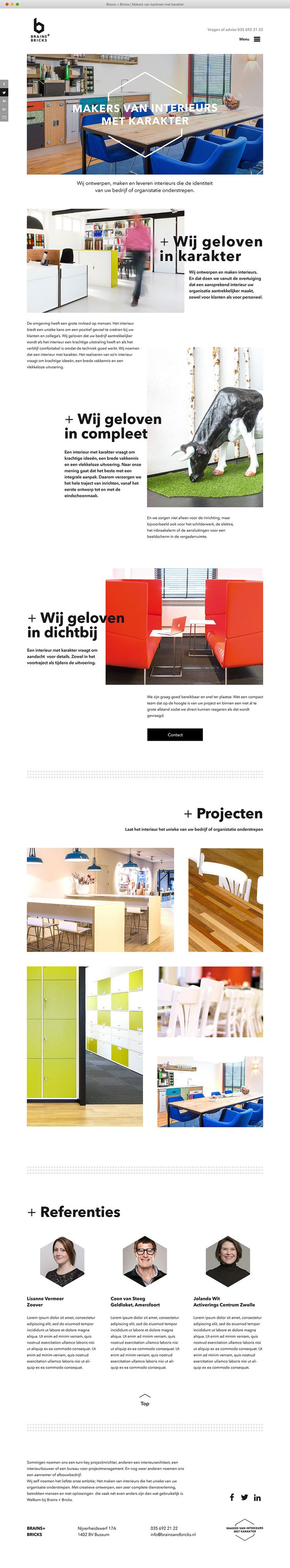 Minimalistische website ontwerp Brains + Bricks. Ontwerp grafisch ontwerpbureau Designkwartier ©2016 #webdesign #website #minimal #white #black #website #web #responsive #architect #dutch #hamburgermenu #portfolio #projects #typo #designkwartier