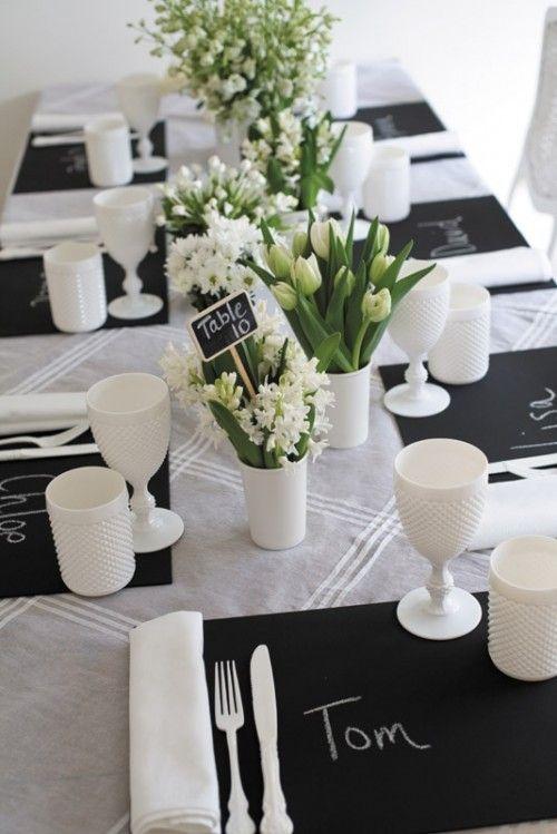 Tablescape - Black & White - Chalkboard place settings