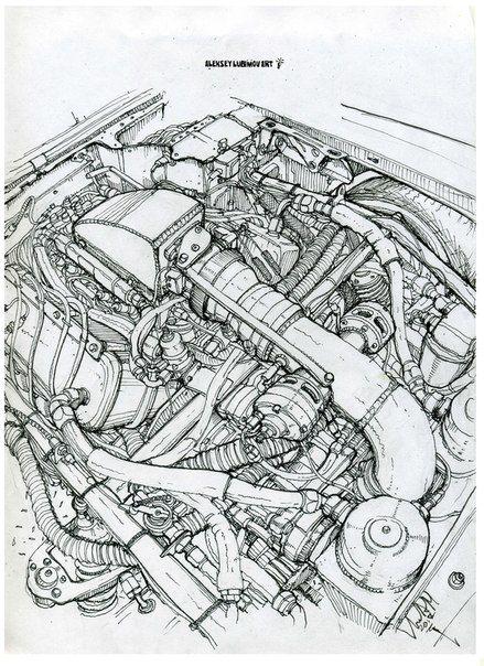 Engine.Drawing for my friends from Thebigredcamaro. #алексейлюбимовбиомеханика #алексейлюбимов #стимпанк #дизельпанк #биомеханика #marchofrobots #steampunk #dieselpunk #alekseylubimov #biomechanical #marchofrobots2017 #thebigredcamaro