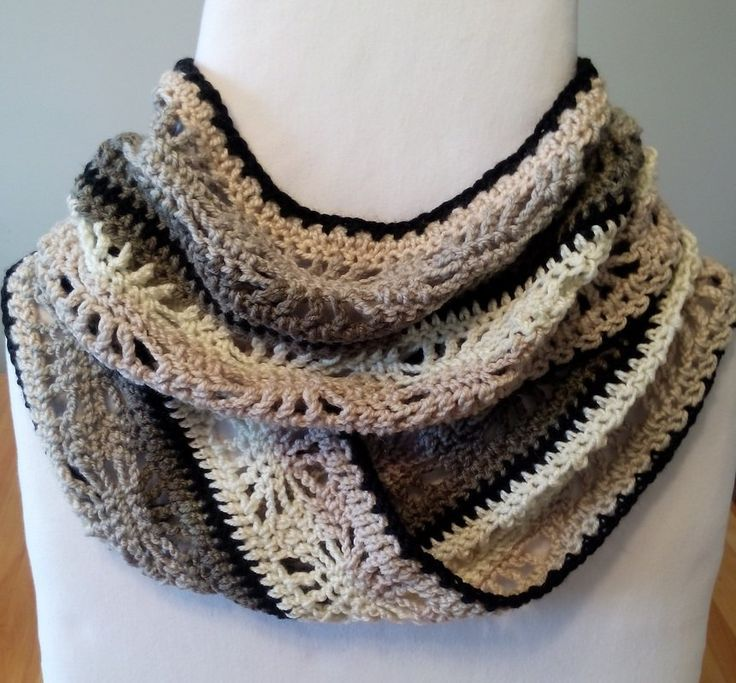 Crochet Winter Spider Infinity Scarf Free Pattern in Caron Cakes Cookies and Cream Yarn by Sassafrass Crochet