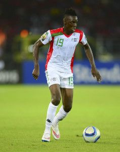 Bertrand Traore of Burkina Faso during the 2015 Africa Cup of Nations football match between Burkina Faso v Gabon at Bata Stadium in Bata, Equatorial Guinea on 17 January 2015 ©Barry Aldworth/BackpagePix