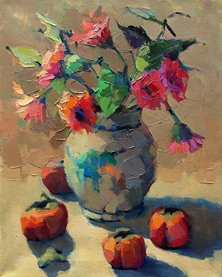 Persimmons by Trisha Adams Oil ~ 20 x 16