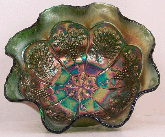 Fenton Peacock and Grape Emerald Green Carnival Glass Bowl