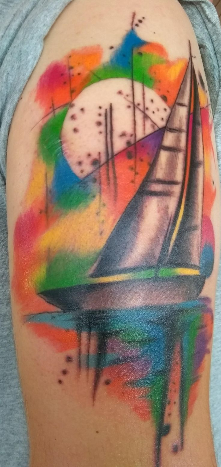 "In memory of my best friend who passed away too soon. ""Sailing in a colorful sky"" done by Robert @ Tattoo Ink 7th Heaven Regensburg Bavaria"
