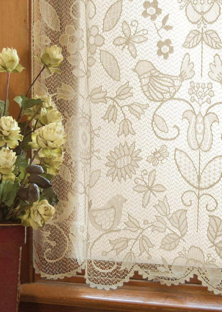 Popular folk art themes from nature with whimsical birds are echoed in the fine-gauge lace Rhapsody Panel. Shop at heritagelace.com. #lace #curtains #birds