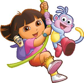 Dora The Explorer swinging with boots