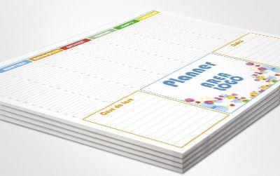 Pianifica la tua settimana con i nostri Planning personalizzati!   Planning PERSONALIZZATO: versione deluxe personalizzato con la tua grafica  Blocchi da 50 fogli di carta usomano extrabianca da 100g. Stampa bianco/nero o quadricromia. Area Logo 17x11,5cm