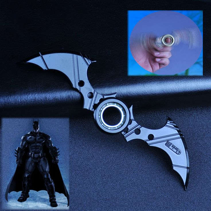 Batman Batarang Fidget Spinner Ring Alloy Tri Spinner ADHD Anti-Autism Kids Toy