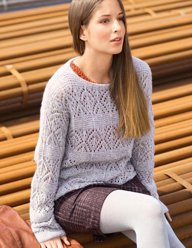 Светло-серый джемпер - схема вязания спицами. Вяжем Джемперы на Verena.ru