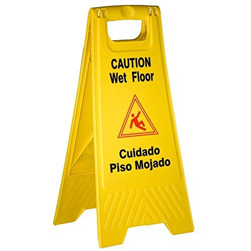 """Tiger Chef Yellow Wet Floor Caution Sign, 2-sided Fold-out, Floor Safety Sign, Caution Wet Floor 24-inch By 12-inch Cuadado Piso Mojado  PREVENT INJURIES: Thess yellow wet floor signs alert patrons with Safety warning in graphics and text in English and SpanishTWO SIDED: 25"""" x 12"""" for use in narrow areas, and can be seen from both sides.FOLD-UP: Easily folds to flat to 1 inch for convenient Storage, and stores easily on the most Janitor Carts and Cleaning Carts for transport.  ht.."""