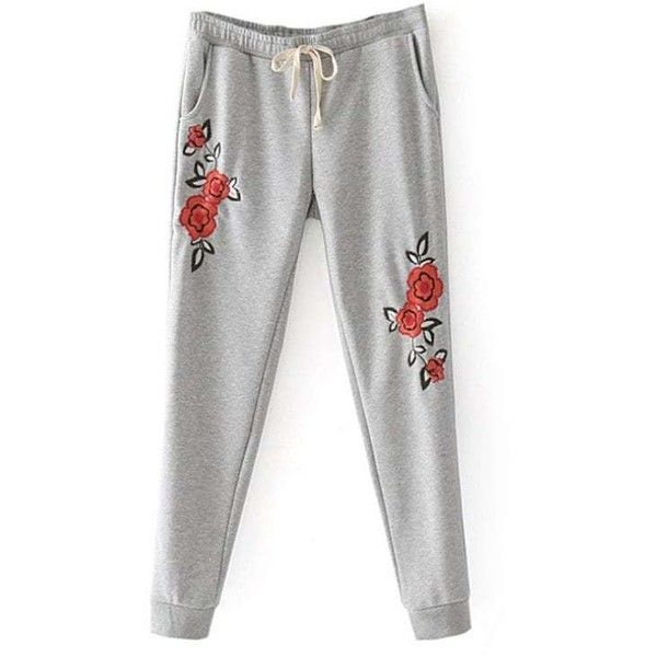 Floral Embroidered Jogger Pants (97 PEN) ❤ liked on Polyvore featuring pants, zaful, white jogger pants, white trousers, jogger pants, white pants and jogging trousers