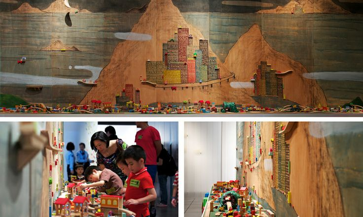 Lam Tung Pang, Thing happened on the Island, 2013, Acrylics, charcoal, pencil, scale model and wooden toys and plywood, H24x700x60Wcm, Courtesy the artist and Prudential Eye Awards