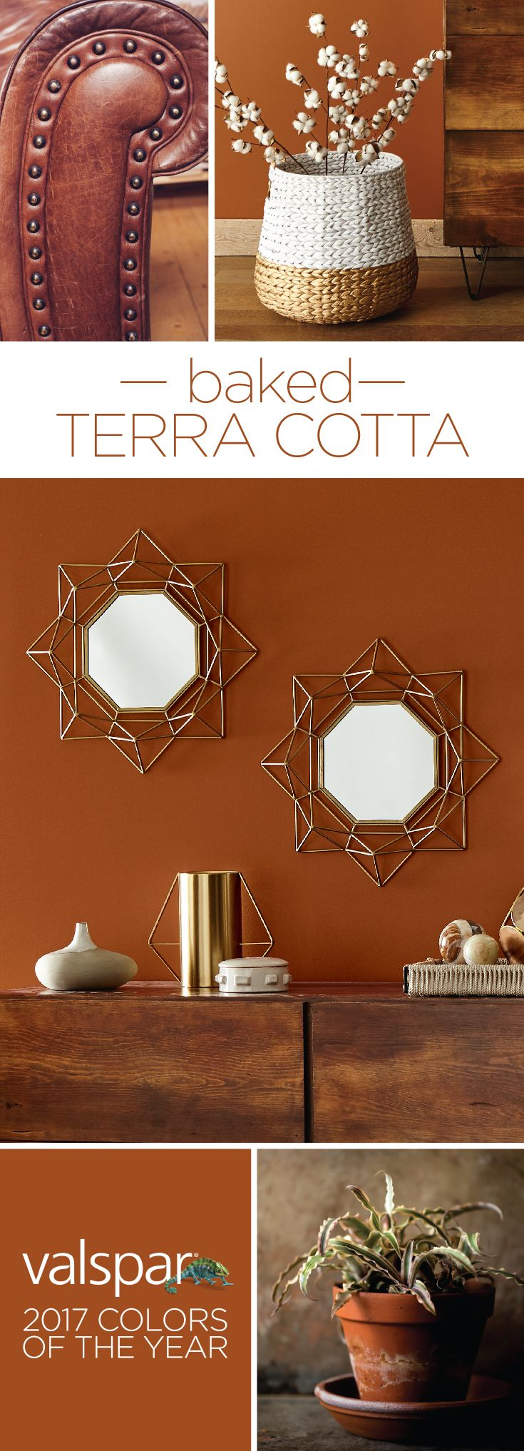 """Warm and inviting in any lighting, rich and earthy terra cotta is back in a big way!"" Sue Kim, Valspar Color Strategist. One of 12 Valspar 2017 Colors of the Year: Autumn Russet at Lowe's.  https://www.askval.com/ColorsOfTheYearLanding/Baked-Terra-Cotta"