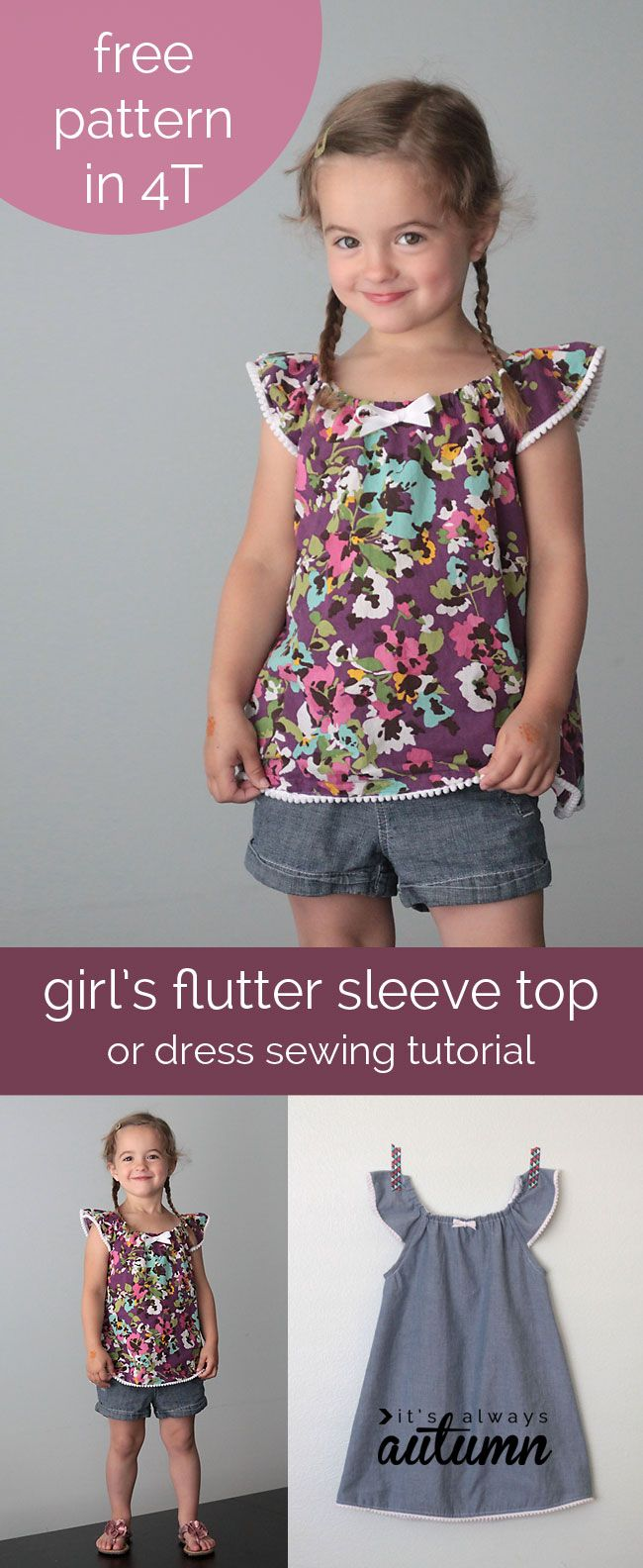 Girl's flutter sleeve dress or top: sewing tutorial and free pattern in size 4T #sew #SewforGirl