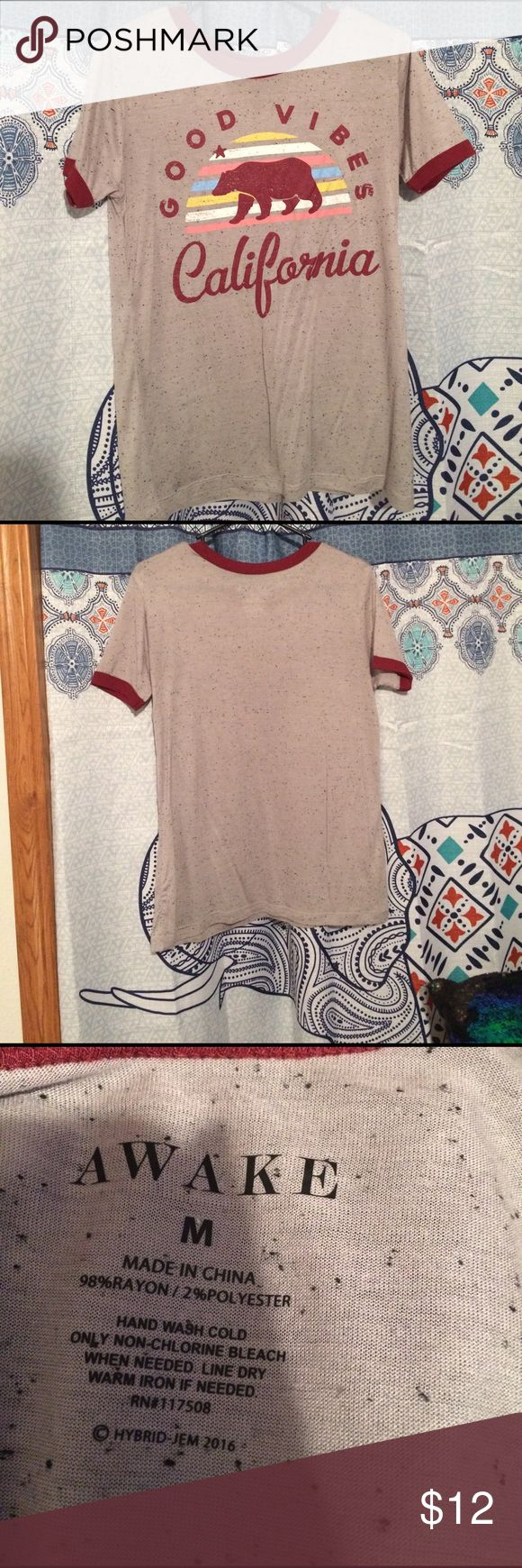 Good Vibes California shirt Light gray with black specs on it. NWOT. Great condition never worn. Tops Tees - Short Sleeve