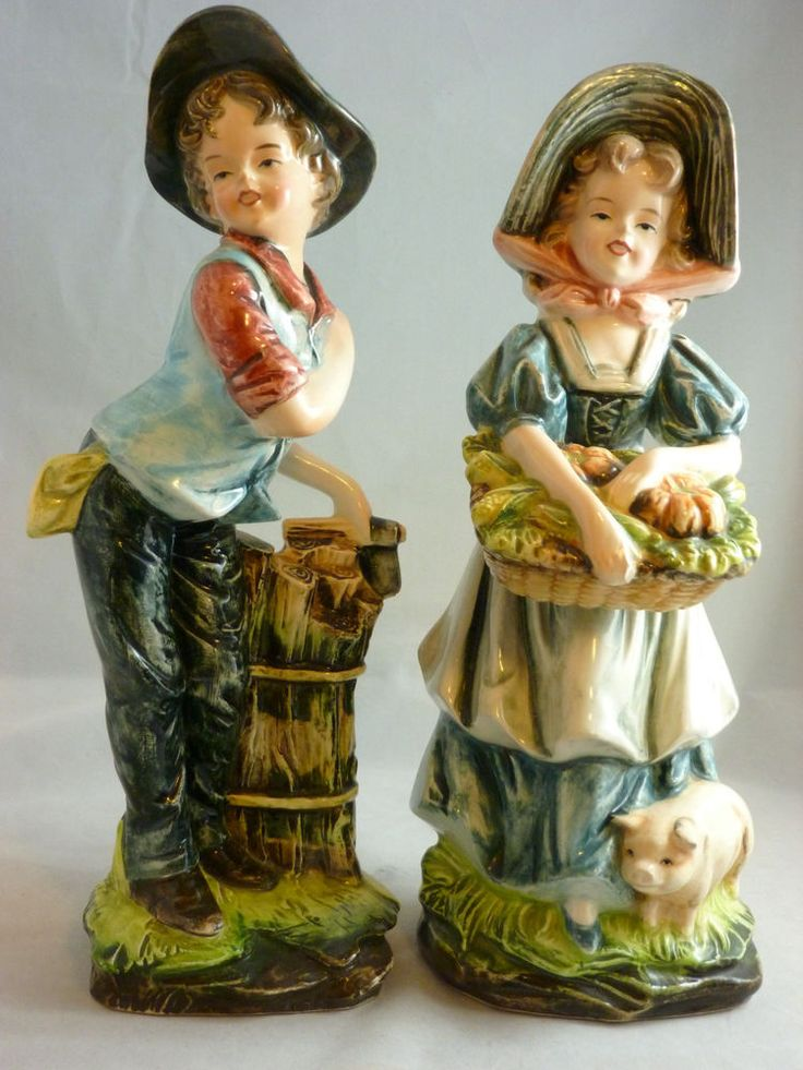 "VINTAGE PACIFIC JAPAN HANDPAINTED 11"" COUNTRY FARM BOY & GIRL w/PIG FIGURINES"