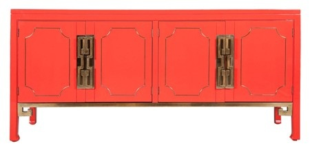 Mastercraft Credenza in a Coral Lacquer Finish: I can see the circa 70's credenza in a glamourous Hollywood home.
