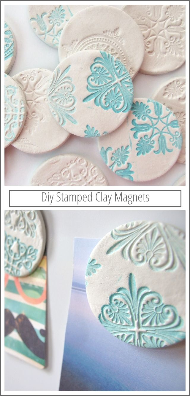 Make your own diy stamped clay magnets using air dry clay.