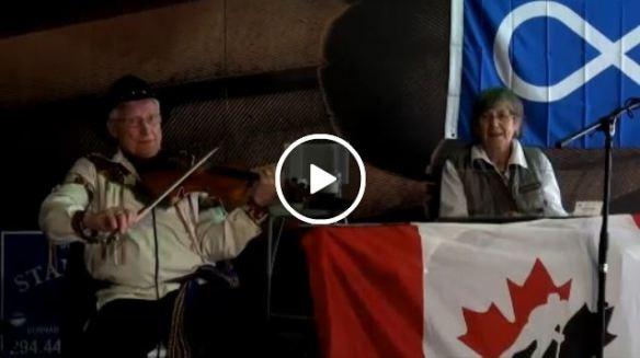 Métis Fidller and Pianist at Klahowya Village Stanley Park, Vancouver BC
