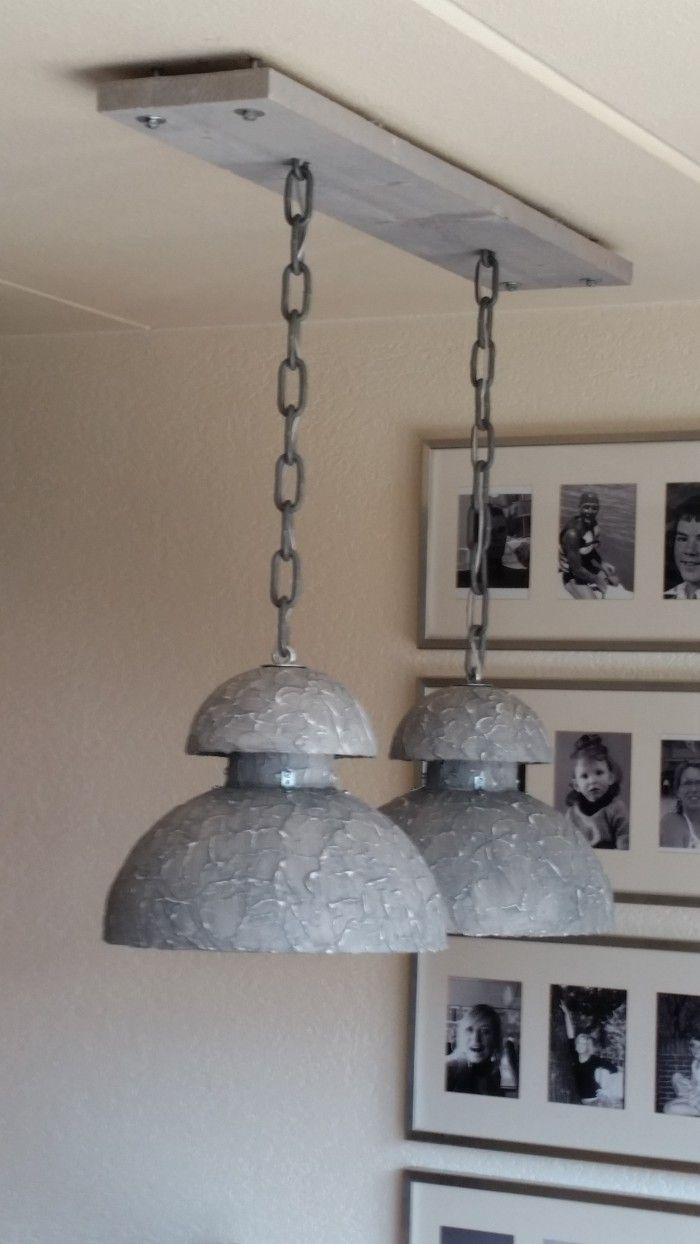 zelf gemaakte industrie hanglamp  verlichting  Hanglamp