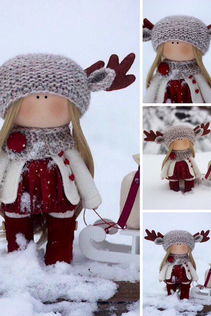 Deer Doll Christmas Winter Doll Handmade Soft Rag Doll Bambole Textile Fabric Doll Tilda Art Red Doll Puppen Cloth Baby Doll by Oksana Z This is handmade cloth doll created by Master Oksana Z (Ulyanovsk, Russia). This doll is READY TO SHIP.