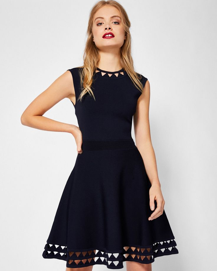 Cut-work knitted skater dress - Navy | Dresses | Ted Baker  ((a little bit more fancy/formal than I'm looking for now, but otherwise I love every single thing about this dress))