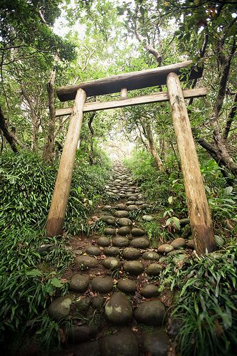 Steep path to the hidden shrine at Hachijo-jima, Japan.  Hachijō-jima (八丈島) is a volcanic Japanese island in the Philippine Sea. It is the southernmost and most isolated of the Izu Seven Islands group of the seven northern islands of the Izu archipelago. Inhabited since at least the Jomon period, and archaeologists have found magatama and other remains.