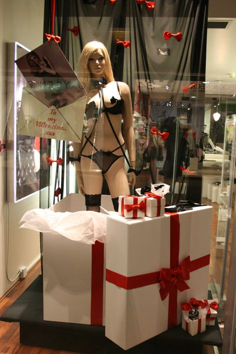 Valentine's Day Windows display with Mannequins like the ones we have at Mannequin Madness.com