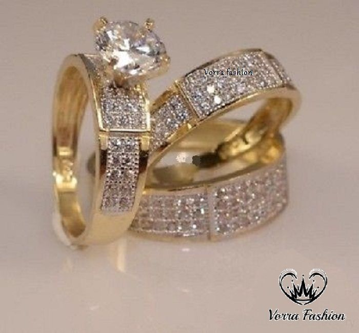 Diamond 14k Yellow Gold Trio His And Her Wedding Band Bridal Engagement Ring Set Wedding Ring Trio Sets Yellow Gold Diamond Engagement Ring Wedding Ring Trio