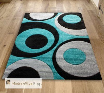 Details About Teal Blue Black And Grey Circles Pattern Rug Very Modern Design In 2 Sizes