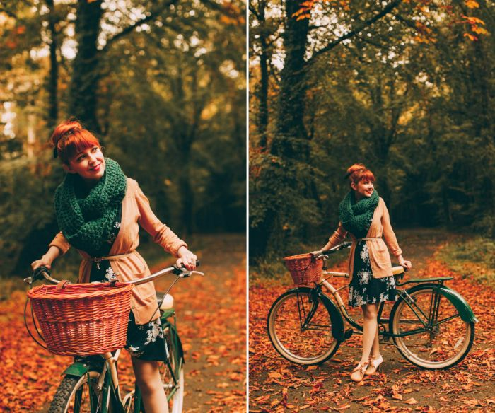 Outfit: Cycle Chic. Huge scarf