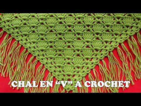 Punto para Chal a crochet en V o en punta FÁCIL Y RÁPIDO DE TEJER en punto cuadrados rellenos - YouTube