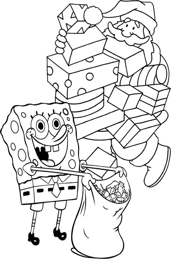 edb5efe0429c3f4fad5c96e303d40bac  christmas coloring pages kids coloring pages » Christmas Sponge Bob Coloring Page