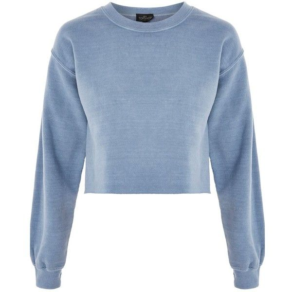 TopShop Petite Cropped Sweatshirt (€34) ❤ liked on Polyvore featuring tops, hoodies, sweatshirts, blue, topshop tops, blue sweatshirt, topshop sweatshirt, cropped tops and blue long sleeve top