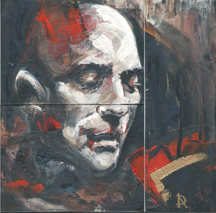 Retrato 1 Acrilico sobre carton entelado 30 x 30 cm.