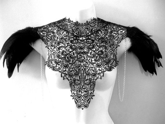 Steampunk jewelry lace detachable collar necklace silver chain and black voluminous epaulets epaulettes Burning Man Festival