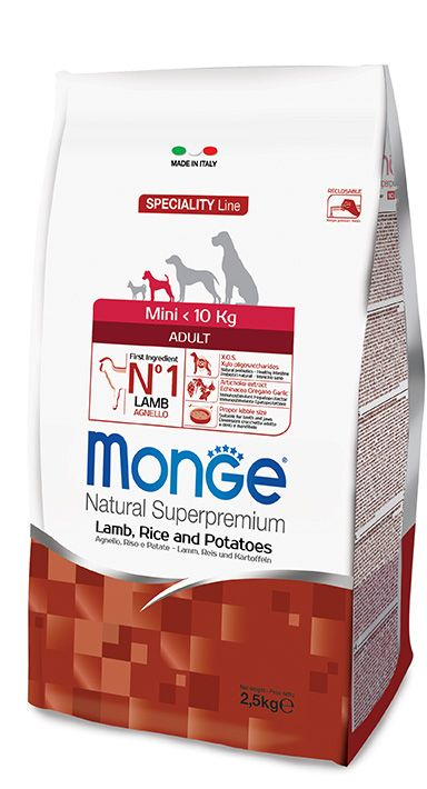 MINI ADULT LAMB, RICE AND POTATOES Kibbles Monge Natural Superpremium Speciality Line with Lamb, Rice and Potatoes are a complete food for adult dogs of small sizes.