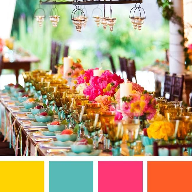 New Wedding Color Combinations for 2014! Canary Yellow + Teal + Fuchsia + Marigold