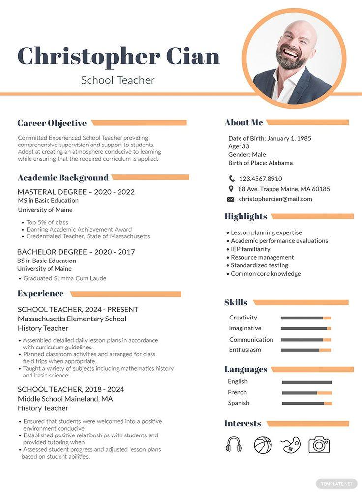 FREE Experienced School Teacher Resume/CV Template Word