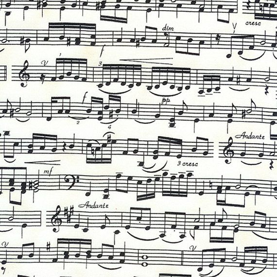Music Scale Notes Middle C Fabric Black and White Piano Score TT
